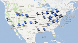Map of places visited, as seen on Google Maps