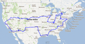 Road trip route, as protrayed on Google Maps